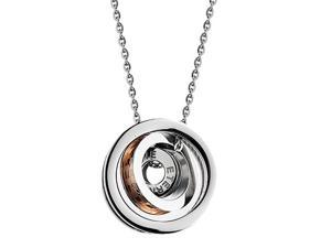 CZ Crystal Rose Gold Silver 3 Rings Pendants stainless steel Necklace Fashion Chain Charms Jewelry
