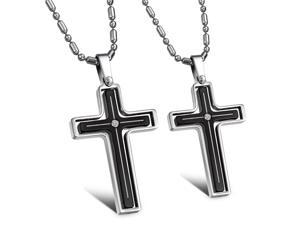Pair Silver & Black Cross Pendants stainless steel White Rhinestone CZ Crystal Necklace Fashion Chain Charms Jewelry