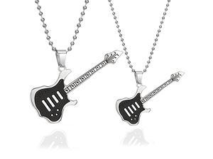Black Guitar Stainless Steel  Pendant Necklace, Pair