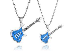 Blue Guitar Stainless Steel Pendant Necklace