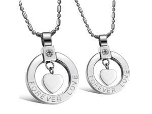 Pair Silver Hearts Rings Pendants stainless steel White Rhinestone CZ Crystal Necklace Fashion Chain Charms Jewelry