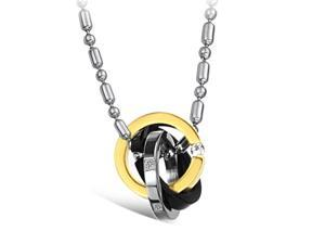 Silver Black & Gold Rings Pendants stainless steel Rhinestone CZ Crystal Necklace Fashion Chain Charms Jewelry Women Style