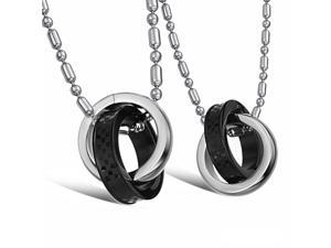 Pair Silver & Black Rings Pendants stainless steel Necklace Fashion Chain Charms Jewelry