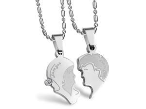 Pair Silver Head puzzle Pendants stainless steel Rhinestone CZ Crystal Necklace Fashion Girls Chain Charms Men Jewelry