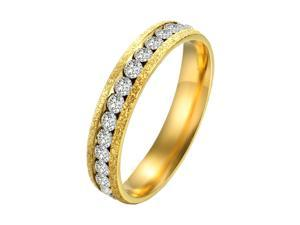 plating gold three -dimensional crystal  wheel ring with shining crystal drill stainless steel for girls women fashion style charming jewelry size 7