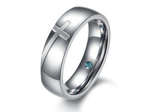 silver stainless steel Cross shinning crystal drill rings boys men charming jewelry size 8