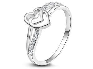 Fashion Stainless Steel Shinning Crystal Drill Dual interlocking Heart love Rings Girl Women Charming Jewelry Size 12
