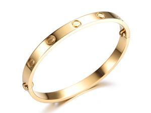 Plating Gold Stainless Steel Bangle With Screws Bracelet Fashion Girls Women Charming Jewelry