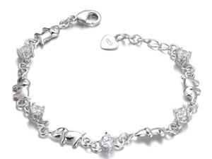 Plated White Gold Sterling Silver 925 Bracelet Women Dog CZ Crystal Bangle Fashion Girl Hand Chain Charms Jewelry