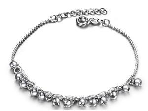 Plated White Gold Sterling Silver 925 Bracelet Women Beads Bangle Fashion Girl Hand Chain Charms Jewelry
