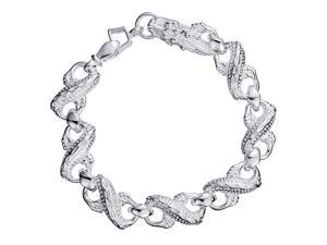 Plated White Gold Sterling Silver 925 Bracelet Women Dragon Bangle Fashion Girl Hand Chain Charms Jewelry