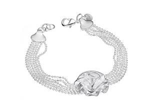 Plated White Gold Sterling Silver 925 Bracelet Women Beads Flower Bangle Fashion Girl Hand Chain Charms Jewelry