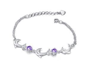 Plated White Gold Sterling Silver 925 Bracelet Women Dolphin Purple CZ Crystal Fashion Girl Hand Chain Charms Jewelry