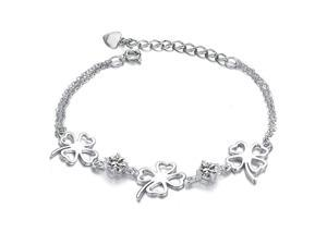 Plated White Gold Sterling Silver 925 Bracelet Women Clover CZ Crystal Fashion Girl Hand Chain Charms Jewelry