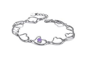 Plated White Gold Sterling Silver 925 Bracelet Women Heart Purple CZ Crystal Fashion Girl Hand Chain Charms Jewelry