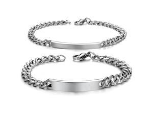 Pair Silver Bracelet Stainless Steel Bangle Fashion Boy Girls Hand Chain Charms Jewelry Womens