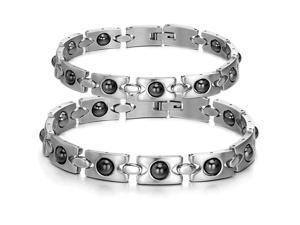 Pair Luxury Silver Bracelet Stainless Steel Health Magnetic Bangle Fashion Boy Hand Chain Charms Jewelry Womens