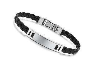 Silver Bracelet Stainless Steel Bangle Leather Girdle Fashion Girl Hand Chain Charms Jewelry Women