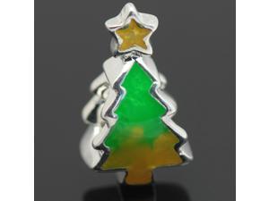 Green X-Mas Tree European Charm Sterling Silver Bead fit Pandora Bracelet Necklace Chain
