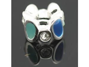 Green&Blue Enamel Crystal European Charm 925 Sterling Silver Bead for Pandora Bracelet Necklace Chain