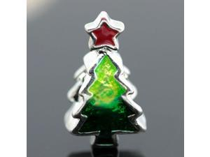 Green X-Mas Tree Red Star European Charm 925 Sterling Silver Bead fit Pandora Bracelet Necklace Chain
