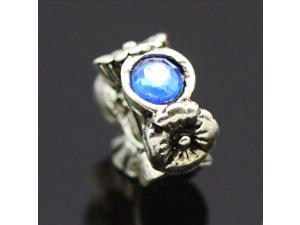 Blue Crystal Stone Flower Spacer 925 Sterling Silver European Charm Bead for Pandora Bracelet Necklace Chain