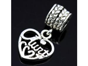 About Family Aunt Heart Pendant Sterling Silver European Charm Bead for Pandora Bracelet Necklace Chain