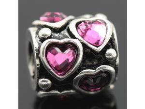 Pink Crystal Stone Heart 925 Sterling Silver European Charm Bead for Pandora Bracelet Necklace Chain