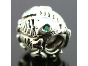 Fish Bone Fossil Green Crystal 925 Sterling Silver European Charm Bead for Pandora Bracelet Necklace Chain