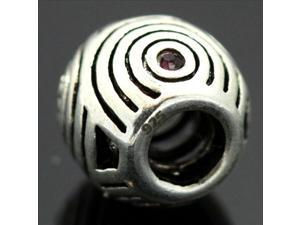 Circle Pattern Crystal 925 Sterling Silver European Charm Bead for Pandora Bracelet Necklace Chain