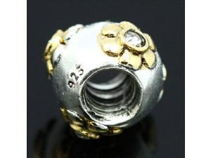 925 Sterling Silver 14K Gold Filled Flower European Charm Bead for Pandora Bracelet Necklace Chain