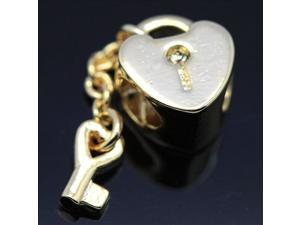 14k Gold Plated Lock&Key 925 Sterling Silver European Charm Bead for Pandora Bracelet Necklace Chain