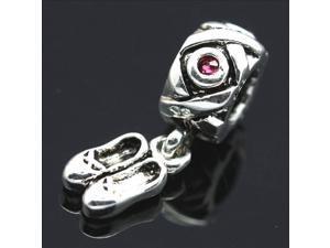 One Pair Shoes Pendant 925 Sterling Silver European Charm Bead for Pandora Bracelet Necklace Chain