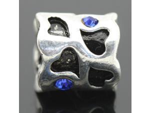 Black Enamel Heart Blue Crystal Stone European Charm 925 Sterling Silver Bead fit Pandora Bracelet Necklace Chain