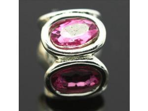 Rose Zircon Crystal Spacer Sterling Silver European Charm Bead for Pandora Bracelet Necklace Chain