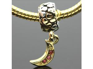 18K Gold-F Moon Pendant European Charm 925 Sterling Silver Bead fit Pandora Bracelet Necklace Chain