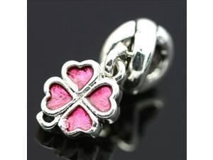 Enamel Pink Flower Heart 925 Sterling Silver European Charm Bead for Pandora Bracelet Necklace Chain