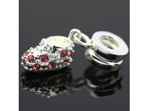 Pink Crystal Shoes 925 Sterling Silver European Charm Bead for Pandora Bracelet Necklace Chain