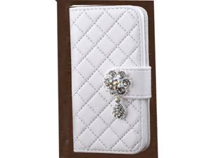 White Rhinestone Pendant PU Leather Wallet Case For Sumsung S4 MINI