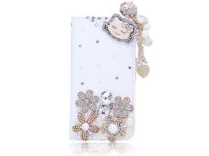 Kitty Cat Wood Pearl Pendant PU Leather Wallet For Sumsung Not2 N7100