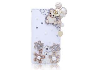 Wood Bear Pearl Pendant Rhinestone Flower PU Leather Wallet Case For Sumsung Galaxy Not 2 N7100