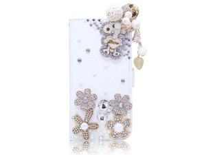 3D Dog Wood Pearl Pendant Flower PU Leather Wallet Case For Sumsung Not 2 N7100