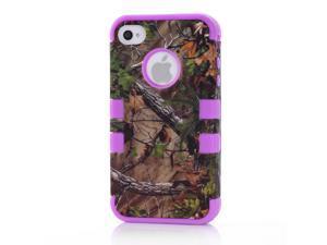 Branches Purple Skin Silicone Cover Plastic Case Design Pine For iPhone 4 4S