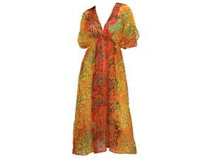 La Leela Animal Skin Printed Chiffon Sleepwear Long Tube Kaftan Caftan Orange