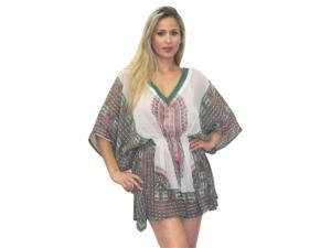 La Leela Sheer Chiffon Designer Printed Beach Swim Kaftan  Cover up