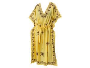 La Leela V Neck RAYON Embroidery Sleepwear PLUS Size Casual Long Kaftan Yellow