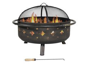 Sunnydaze Brushed Metal Diamonds Fire Pit, 36 Inch Diameter