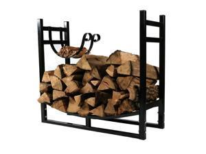Sunnydaze Indoor/Outdoor Firewood Log Rack with Kindling Holder, 33 Inch Wide x 30 Inch Tall