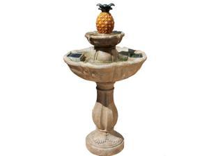 Haddonfield Two-Tier Solar Fountain - Tuscan Stone