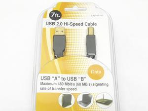 USB 2.0 Hi-Speed Cable USB A to USB B 7FT